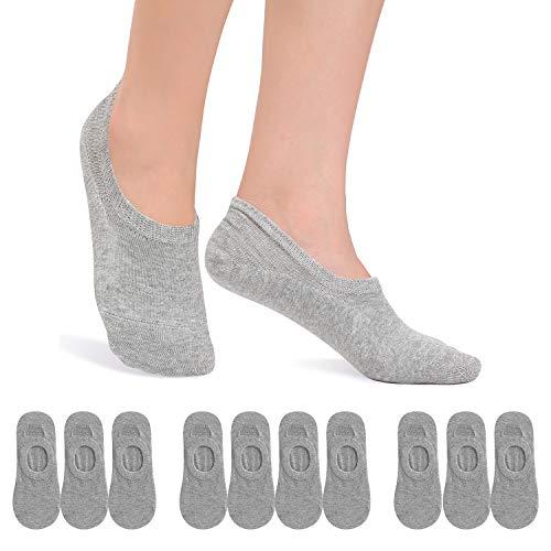 FALARY Füßlinge Damen Herren Footies Unsichtbare Kurze 10 Paar Sneaker Socken Großes Silikonpad Verhindert Verrutschen_Grau_39-42