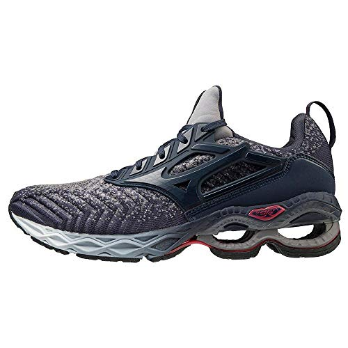 Mizuno Wave Creation WAVEKNIT 2, Scarpe per Jogging su Strada Uomo, Mid Indigo/Mid Indigo/Red Lollipop, 43 EU