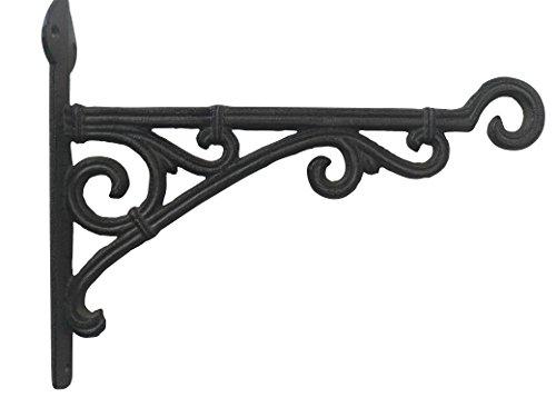 Comfy Hour Antique & Vintage Interior Decor Collection Cast Iron Wall Mount Bracket Hangers for Planter, Bird Feeder, Birdhouse, Lanterns, Windchimes, Hooks, Outdoor Decor- Primitive, Brown
