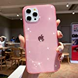 Anynve Compatible with iPhone 12 Pro Max Case for Girl Clear Glitter Sparkle Bling Case [Anti-Shock Matte Edge Bumper Design] Cute Slim Soft Silicone Gel Phone Case 6.7''(2020) -Pink
