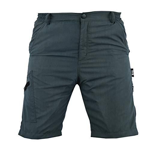 SelectCyclingWear Pro Comfort MTB Mountain Bike Pantalones cortos holgados con forro acolchado Lycra CoolMax, Hombre, Gris/Negro, S
