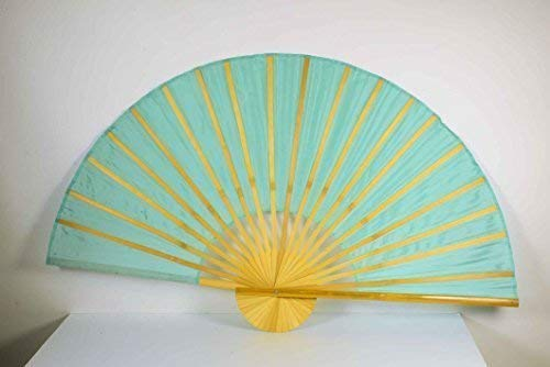 E + N Déco Déco Chine Bambusfächer Turquoise L: 90cm, Ø : 180cm, Tissu en Polyester