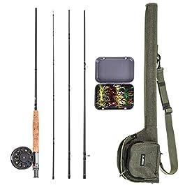 Explopur Canne à pêche à la Mouche + Moulinet Combo + Caisse de Transport 20 Mouches + Sac à Canne à pêche – Kit de…