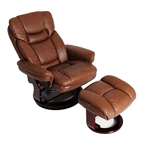 JC Home Contemporary Palomino Leather Recliner and Ottoman with Swiveling Mahogany Wood Base