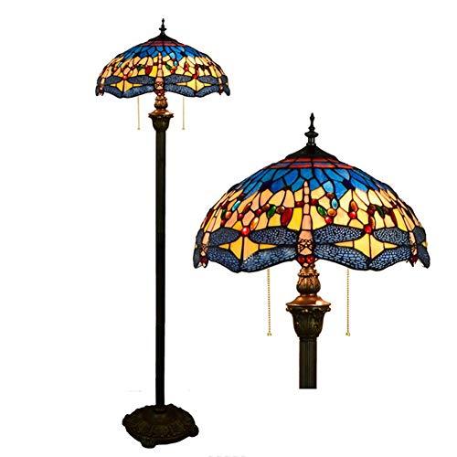 LAMP-XUE 16 inch tiffany-stijl staande lamp, gekleurd glas Art Deco woonkamer plafond schijnwerper, Europese retro libelle vloerlamp