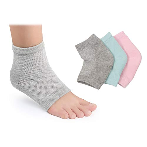Moisturizing Socks, 3 Pairs-Moisturizing/Gel Heel Socks for Dry Cracked Heels, Open Toe Socks, Ventilate Gel Spa Socks to Heal and Treat Dry, Gel Lining Infused with Vitamins (Pink, Turquoise, Grey)