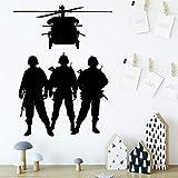 BailongXiao Soldado de Dibujos Animados extraíble Arte Vinilo Etiqueta de la Pared para niños Sala de Estar decoración del hogar decoración Vinilo 54x70 cm
