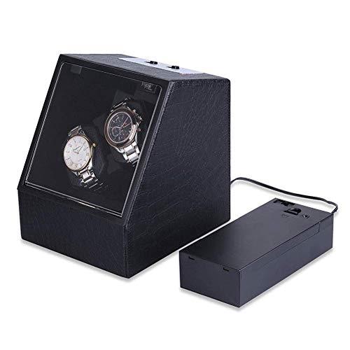 ZHANGYH Bobinador automático del reloj de la coctelera mecánica del reloj, 4 modos giran, caja de reloj de cuero en color negro