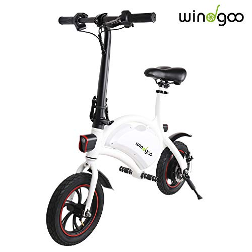 Windgoo Bicicletta Elettrica Pieghevole, Senza Pedale, Altezza del Sedile Regolabile, Maneggevole, Compatta Portatile, Potenza 350 W Batteria 36V 6,0 Ah, velocità Massima 30 km/h (Bianco)
