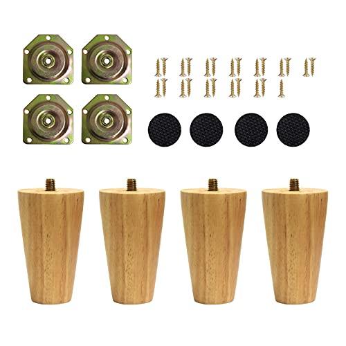 Uni-Fine Shop 4 Piezas Patas de Muebles de Madera 8 cm Patas Cónicas con Inclinación Patas de Repuesto de Madera de Montaje y Tornillos para Sofá Cama, Armario, Sillón