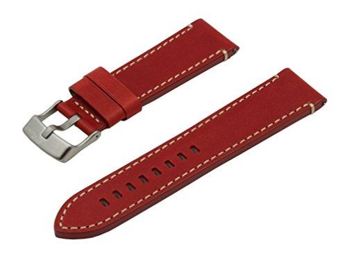 SWISS REIMAGINED hypoallergenes Uhrenarmband Kalbsleder Titan-Schließe - 19mm Rot