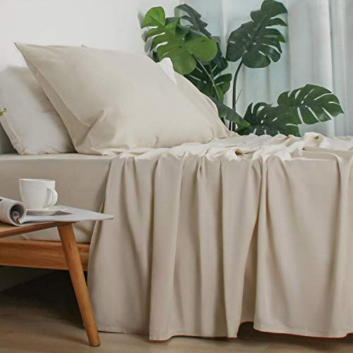 """Zerohub 100% Pure Organic Bamboo Bed Sheets Set - 16"""" Deep Pocket - Silky Soft Touch, Hypoallergenic, Cooling and Lightweight - 4 pcs (Beige, King)"""
