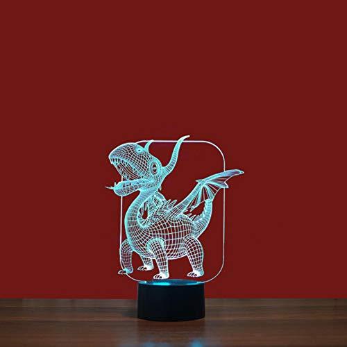 Yujzpl 3D-illusielamp Led-nachtlampje, USB-aangedreven 7 kleuren Knipperende aanraakschakelaar Slaapkamer Decoratie Verlichting voor kinderen Kerstcadeau-Vliegende draak eng