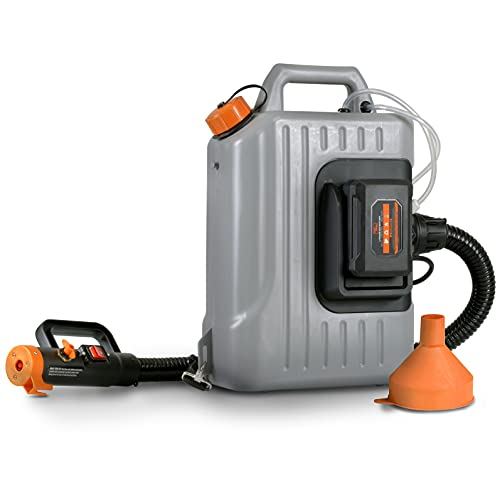 SuperHandy Fogger Machine Disinfectant ULV Sprayer with 48V DC Lithium Ion Cordless Mist Duster Blower 2.6GAL 1-10GPH Adjustable Particle Size 0-50um/Mm