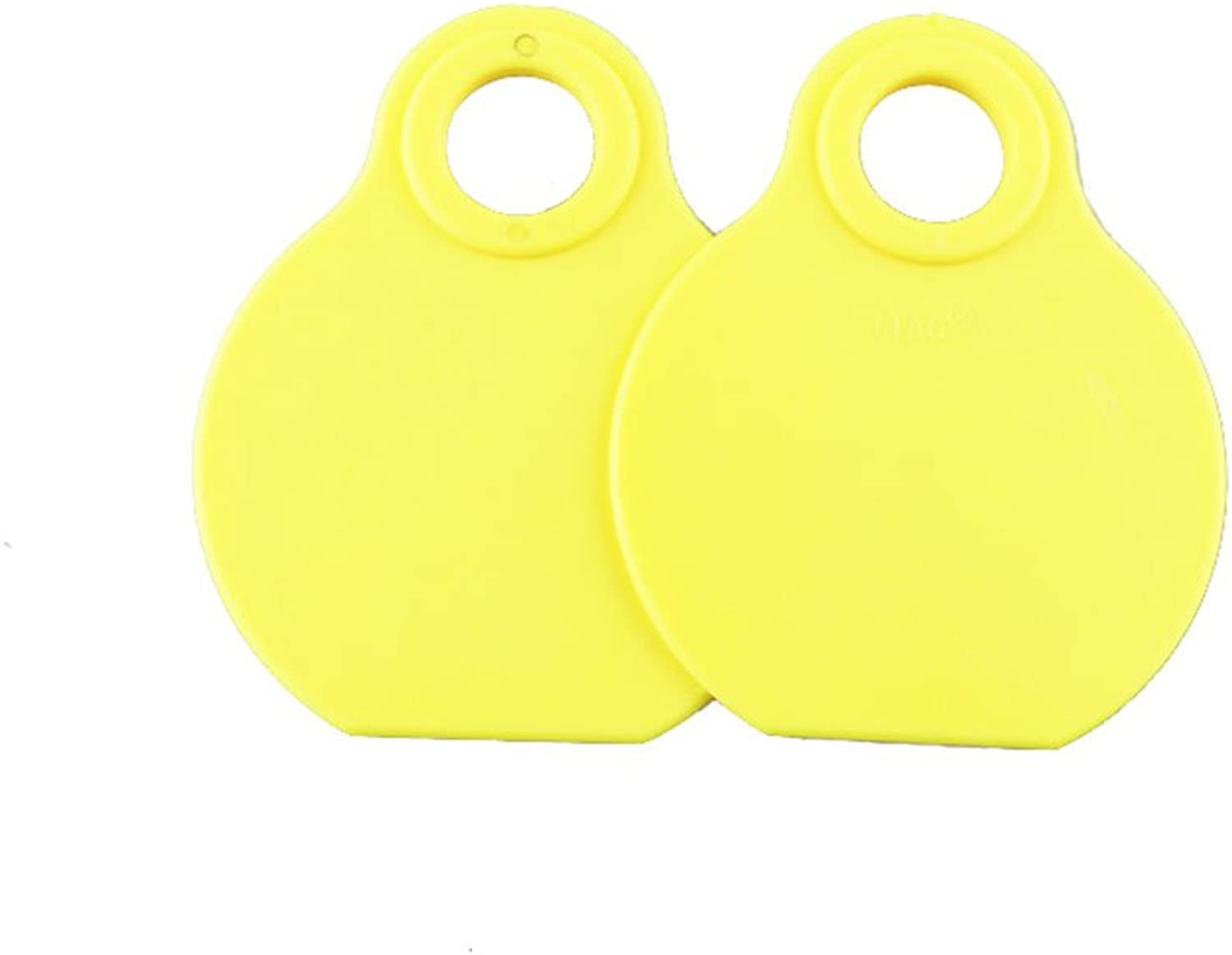 100pcs Blank TPU Painless Hanging Ear Tag One Piece Ear Mark No Need Applicator (Yellow ear tag)