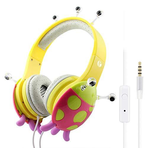VCOM kinderhoofdtelefoons, over-ear stereo muziek headsets verstelbare jongens meisjes lieveheersbeestje oortelefoons compatibel voor iPad Kindle Fire tablet audioboeken smartphones pc (geel)