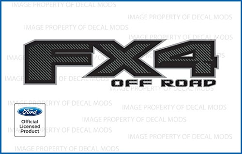 Ford F150 FX4 Off Road Decals Stickers Carbon Fiber Black Pattern (2015-2020) - FCFB [Set of 2]