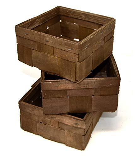Lashuma Geflochtene Bambuskörbe im 3er Körbchen Set, 15 x 15 cm Große Flechtkörbchen, Geschenk Spankörbe Farbe: Braun