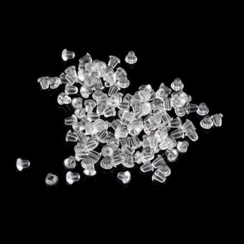 100pcs Fornituras de pendiente de goma en forma de bala Tapones para la espalda Tuerca de poste de oreja Resultados de la joyería de bricolaje Pendientes Tapa transparente - Transparente