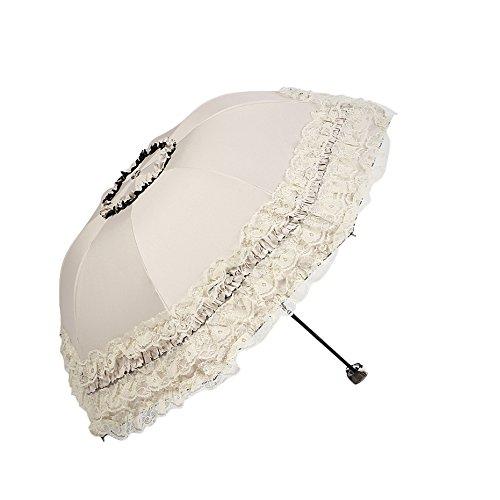 Monbedos Damen Regenschirm, Spitze, Sonnenschirm, UV-Schutz beige