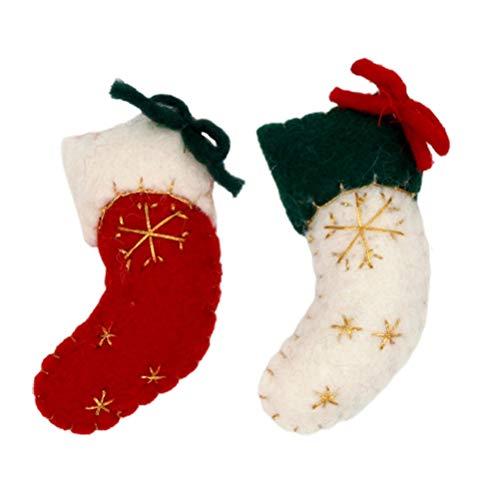 TOYANDONA 2Pcs Mini Fieltro Calcetín Navideño Iluminar Calcetines Navideños Decoración Bordado Copo de Nieve Lana Fieltro Bola Árbol de Vacaciones Colgantes Colgantes para Navidad Chimenea
