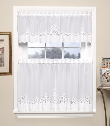 Today's Curtain Plymouth Classic Battenburg Applique Sheer Window Tier, 24-Inch, White