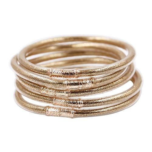 JIAMIN Ladies bracelet Gold glitter jelly bangle light weight plastic bangles silicone christmas bracelet powder lining jewelry Ladies bracelet (Metal Color : Light gold)