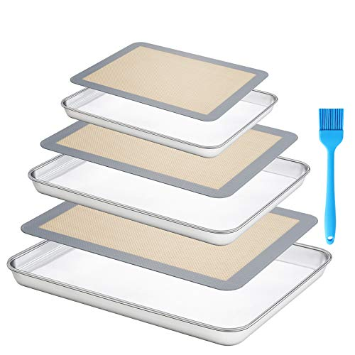 Baking Sheet 18/8 Stainless Steel with Nonstick Silicone Baking Mats-Cookie Sheet 10/12/16 Inch Set-Non Toxic No Rust Easy Clean Heavy Duty Warp Resistant (3 Sheets & 3 Mats)