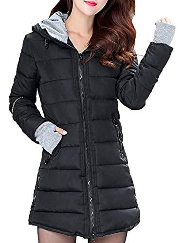 HaiDean Winterparka dames lange gewatteerde jas slim fit lange mouwen warme jongens chic outdoorwear grote maten winterjas met capuchon