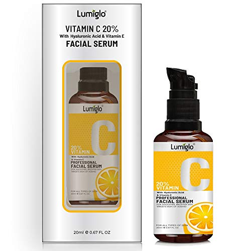 Lumiglo Vitamin C Serum With Hyaluronic Acid For Moisturizng   Skin Whitening   Collagen Booster   Wrinkle Reducer   Anti-Acne & Anti-Aging 30ml