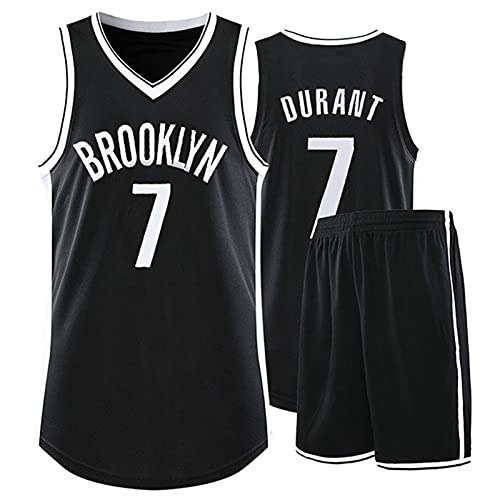 WAIY Set De Camiseta De Baloncesto Kèvin Dùránt # 7 Brooklyn Nets, Camiseta De Baloncesto para Hombre Tejido Elástico Profesional No Se Desvanece Limpieza Repetible Black C-XL