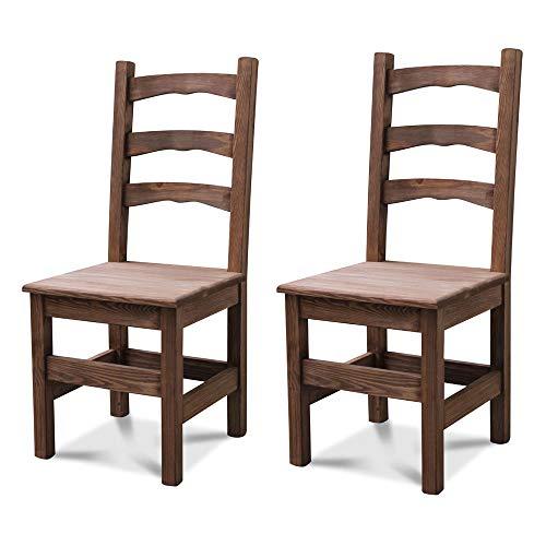 Elean 2 er Set Esszimmerstuhl (HSL-01) Holzstuhl Kuechenstuhl Kiefer massiv Stuhl mit Lehne zusammengebaut 14 Farbvarianten (Palisander lasiert)