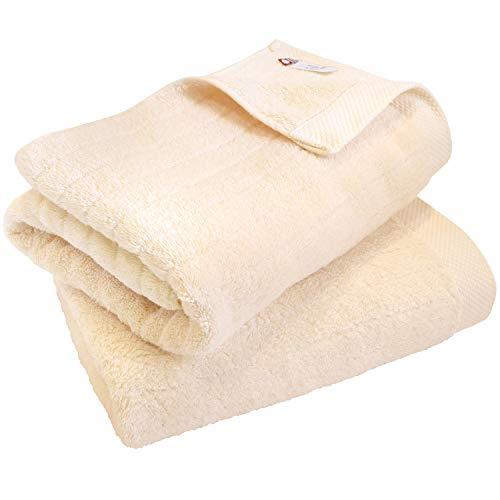 hiorie(ヒオリエ) 今治タオル 認定 バスタオル ふわふわリブタオル 2枚セット ナチュラル 日本製 貴重な超長綿使用 今治ブランド