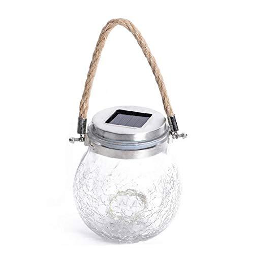 EElabper Frasco de cristal con luces solares LED para colgar al aire libre, impermeable, lámpara de mesa para césped, jardín,...