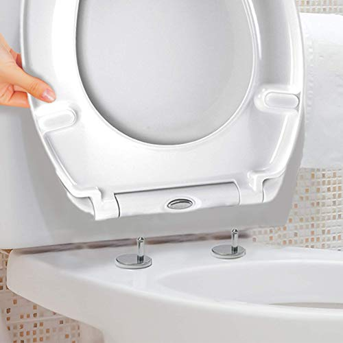 Luxury White Easy Clean Quick Release Oval Toilet Seat - Top Fix Soft Close