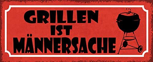FS Grillen ist Männersacht (rood bord met grill) metalen bord gebogen metalen teken 10 x 27 cm
