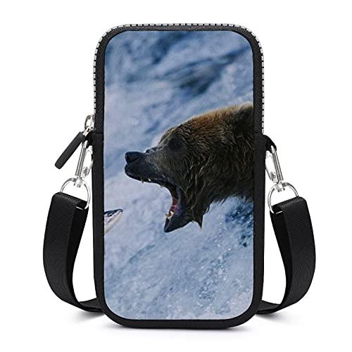 Bolso de teléfono móvil Crossbody con correa de hombro extraíble Oso captura anticaída bolsa caso para teléfono brazalete cartera al aire libre Bolsas mujeres