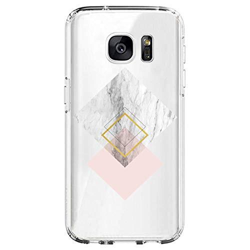 Layeri Compatible con Samsung Galaxy S6 Edge Plus, Funda de mármol Transparente, Silicona, Ultrafina, Suave, TPU, diseño de Flores, Funda Resistente a los arañazos, antigolpes, antiarañazos