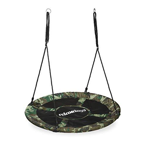 Relaxdays Nestschaukel Camouflage, Tellerschaukel für Kinder & Erwachsene, 100 kg, Kinderschaukel, 110 cm Ø, dunkelgrün