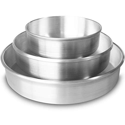 Aluminum Round Cake Pans Set (6', 8' & 10' by 2' deep) - Aluminum Baking Pans Round - Round Pans for Baking - 10 inch Cake Pan - 8 inch Cake Pan - 6 inch Cake Pan - Moldes Redondos para Pasteles