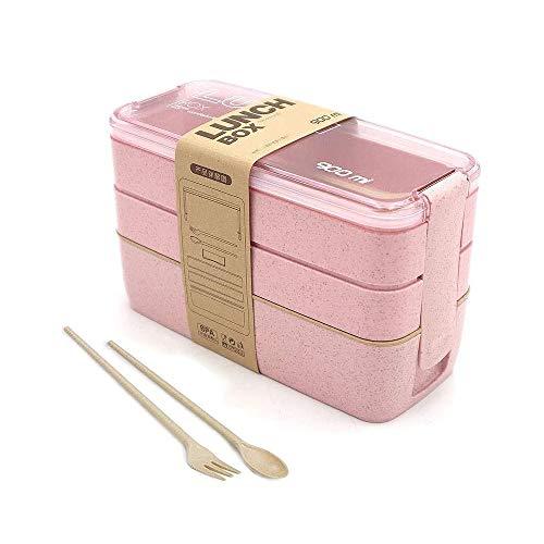 Caja de Bento,Lunch Box Infantil,Fiambreras con 3 Compartimentos,Cuchara Tenedor Lonchera,Fiambreras Caja de Almuerzo Ideal para Microondas (Rosa)