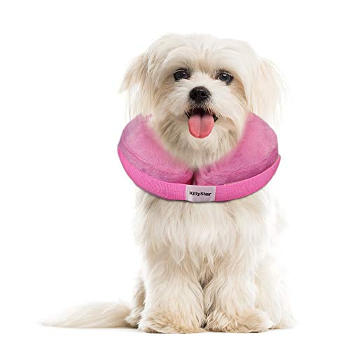N/C Kittystar Soft Inflatable Dog Cone Collar, Protective Inflatable Collar for Dogs and Cats, Adjustable Pet Recovery Cone After Surgery,Pink,M