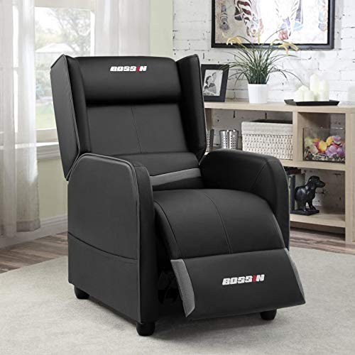 BOSSIN Gaming Recliner Chair Single Recliner Sofa PU Leather...