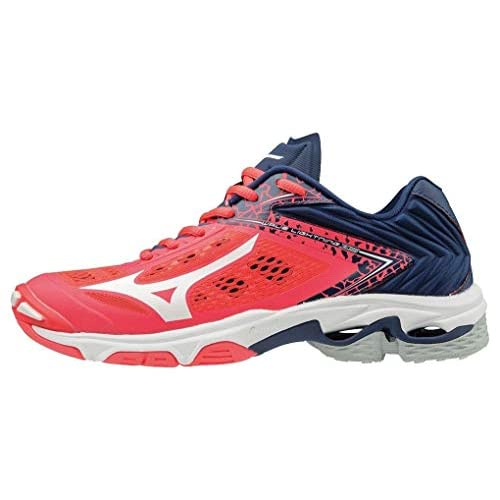 Mizuno Scarpa Volley Wave Lightning Z5 Low Donna (38 EU, 01 - Fiery Coral/White/Estate Blue)