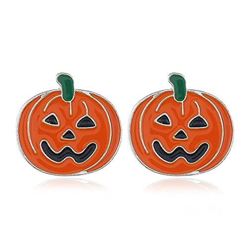 EMFGJ Pendientes de Halloween con diseño de murciélago de calabaza, pendientes de tuerca con diseño de calabaza