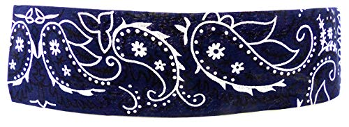 Bandeau pour cheveux en tissu bleu Bandeau pour cheveux Palesti. Motif : blanc (bleu) 4806.