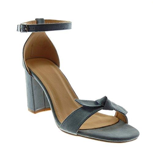 Angkorly - Mode schoenen Sandaal Pumps Enkelband Vrouw Knoop Riem Hoog blok 7.5 CM - Blauw YX-34 T 36