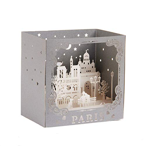 Paris Eiffel Pop Up Card,Night in Paris 3D Cards Pop Up Greeting Card for Mother's Day,Father's Day,Wedding,Graduation Cards