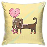 GULTMEE Decorative Printing Pillow case,Colorful Sketch Style Dachshund Puppy with Floral Frame Design Cute Pet Character,Square Cushion Covers for Home Sofa Couch 18x18 Inch