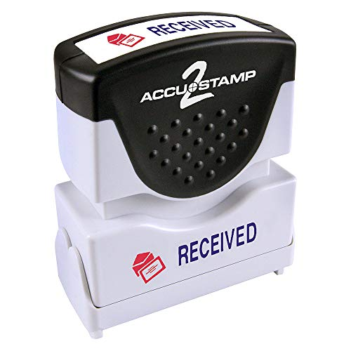 "ACCU-STAMP2 Message Stamp with Shutter, 2-Color, RECEIVED, 1-5/8"" x 1/2"" Impression, Pre-Ink, Blue and Red Ink (035537)"
